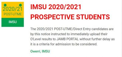 IMSU Notice on O'level Result Upload