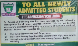 IMSU commences payment of acceptance fee and pre admission screening test for newly admitted students