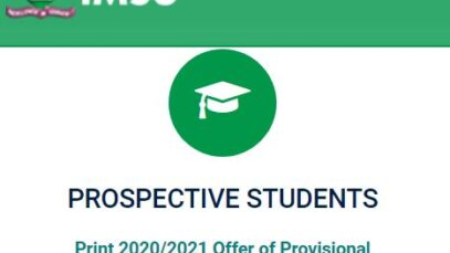 IMSU notice on admission letter printing for 2020/2021 session newly admitted students