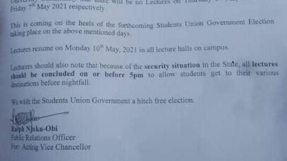 IMSU to observe lecture free day on Thursday 6th May and Friday 7th May 2021