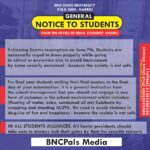 General notice to students from the office of dean, students affairs