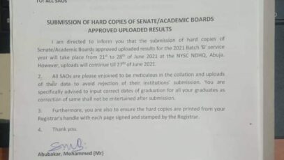 NYSC Update on uploading of senate list by institutions to NYSC portal
