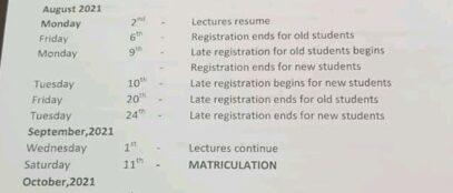 IMSU academic calendar for 2020/2021 session released