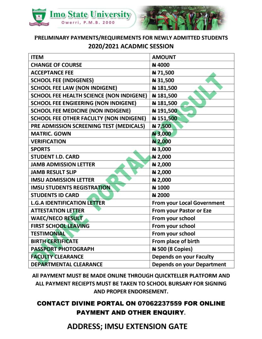 IMSU faculty clearance/screening procedures for 2020/2021