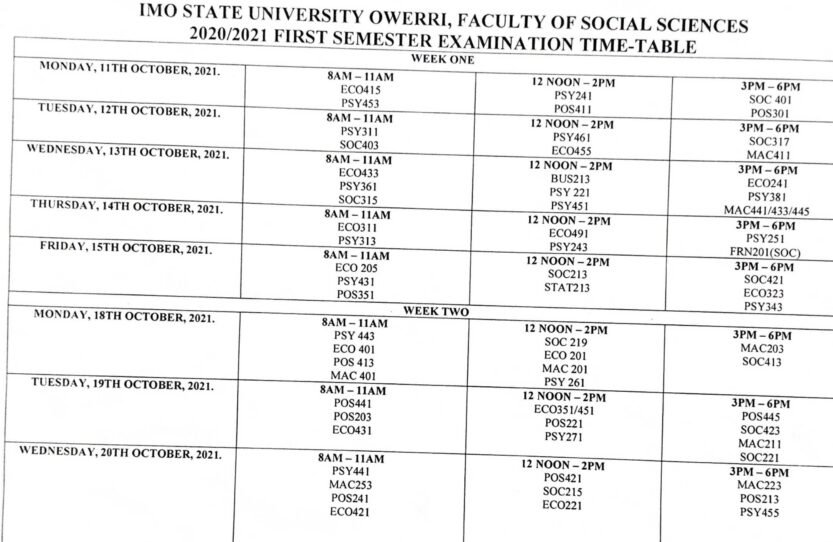 IMSU first semester examination timetable for 2020/2021 academic session is out