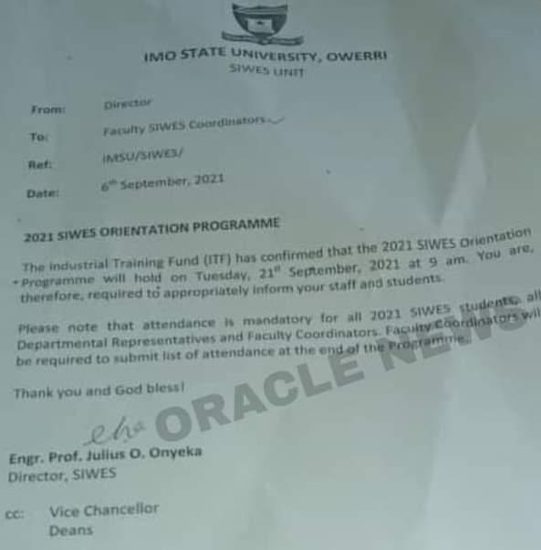 IMSU notice on SIWES (IT) orientation programme