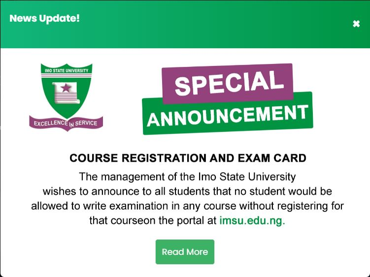 IMSU special announcement on course registration and examination card